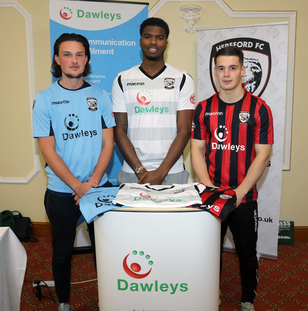 Hereford FC players Tom Owen-Evans, Rowan Liburd, Kieran Thomas in the new Dawleys kit