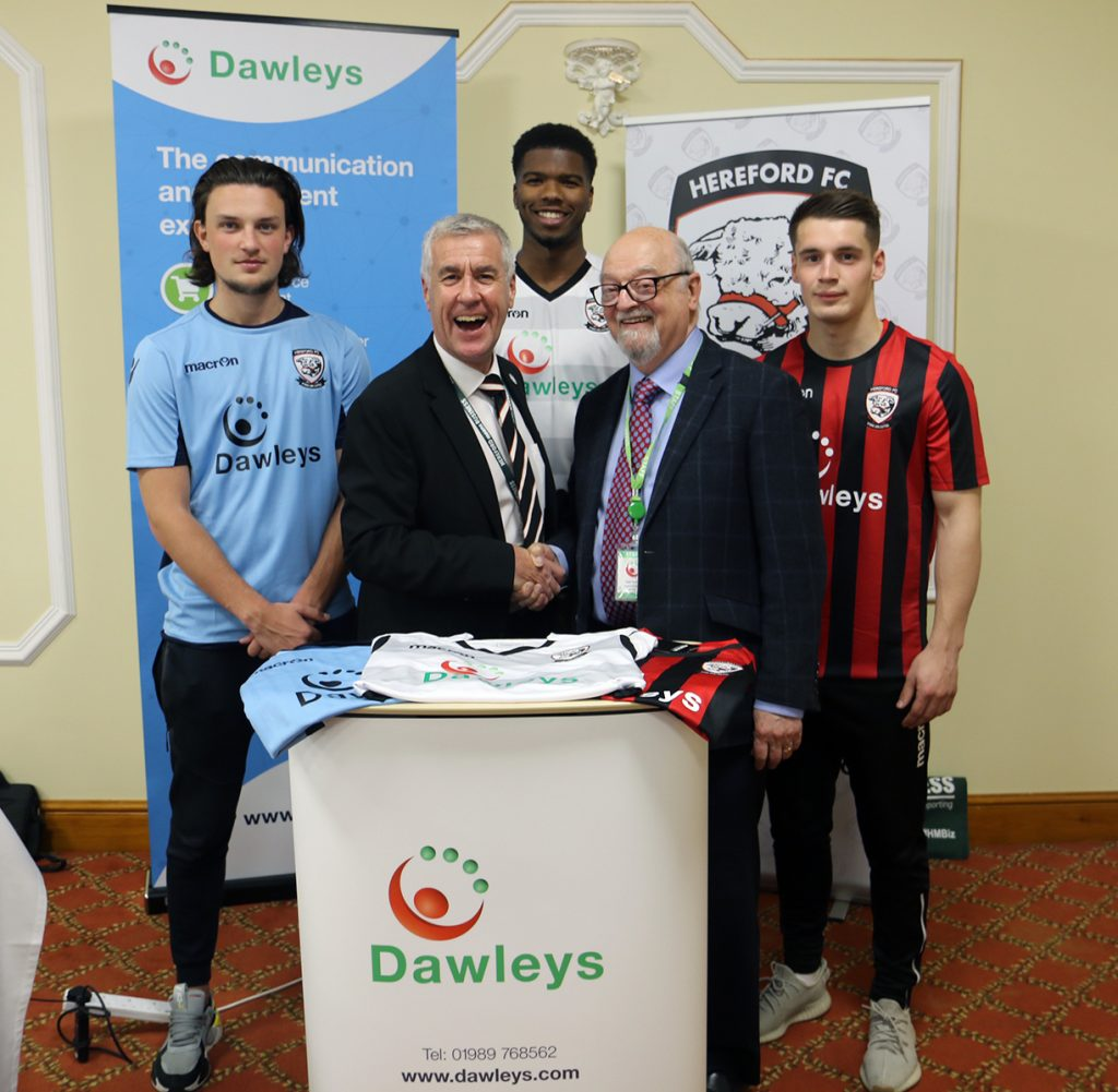 Tom Owen-Evans, Martin Brain - Commercial Manager Hereford FC, Rowan Liburd, Roger Parckar - Managing Director of Dawleys, Kieran Thomas