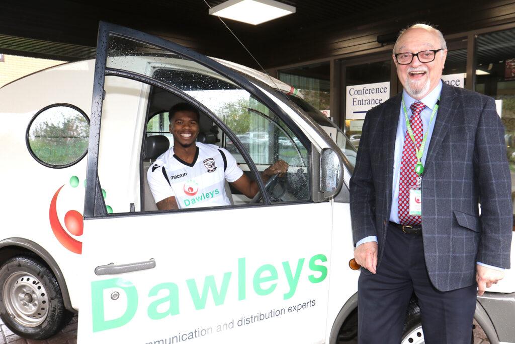 Hereford FC player Rowan Liburd with Roger Parckar - Managing Director of Dawleys